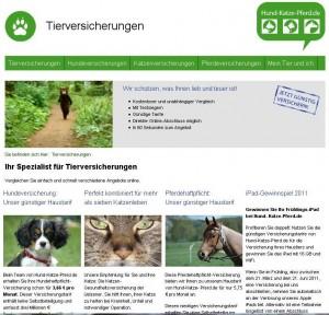Tierversicherungen Hund Katze Pferd - die Internetseite